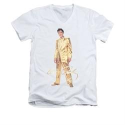 Elvis Presley Shirt Slim Fit V-Neck Gold Suit White T-Shirt