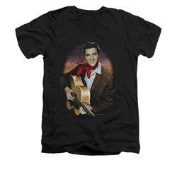 Elvis Presley Shirt Slim Fit V-Neck Red Scarf 2 Black T-Shirt