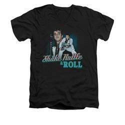 Elvis Presley Shirt Slim Fit V-Neck Shake Rattle And Roll Black T-Shirt