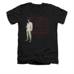 Elvis Presley Shirt Slim Fit V-Neck White Suit Black T-Shirt