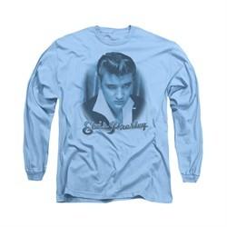 Elvis Presley Shirt Suede Fade Long Sleeve Light Blue Tee T-Shirt