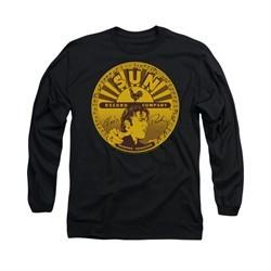 Elvis Presley Shirt Sun Records Full Logo Long Sleeve Black Tee T-Shirt