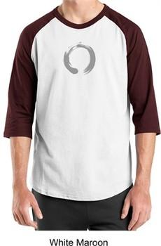 Mens Yoga T-shirt ? Enso Zen Meditation Adult 3/4 Sleeve Raglan Shirt
