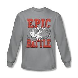 Family Guy Shirt Epic Battle Long Sleeve Silver Tee T-Shirt