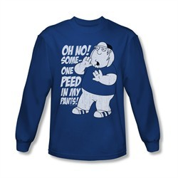 Family Guy Shirt Peed Long Sleeve Royal Blue Tee T-Shirt