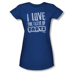 Farts Candy Shirt Juniors Tasty Farts Royal Blue T-Shirt