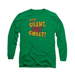 Farts Candy Shirt Silent But Sweet Long Sleeve Kelly Green Tee T-Shirt