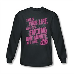 Fight Club Shirt Life Ending Long Sleeve Charcoal Tee T-Shirt