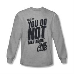 Fight Club Shirt Rule 1 Long Sleeve Athletic Heather Tee T-Shirt