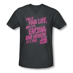 Fight Club Shirt Slim Fit V Neck Life Ending Charcoal Tee T-Shirt
