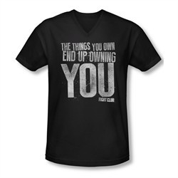 Fight Club Shirt Slim Fit V Neck Owning You Black Tee T-Shirt