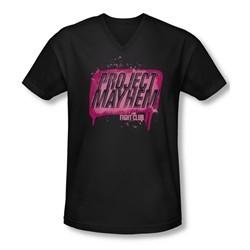 Fight Club Shirt Slim Fit V Neck Project Mayhem Black Tee T-Shirt