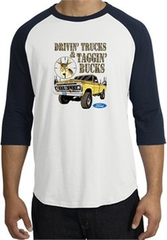 Ford Truck Shirt Driving and Tagging Bucks Raglan Tee White/Navy