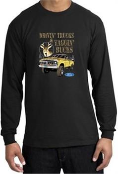 Ford Truck Shirt Driving and Tagging Bucks Long Sleeve Tee Black