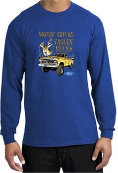 Ford Truck Shirt Driving and Tagging Bucks Long Sleeve Tee Royal