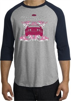 Ford Mustang Shirt Girls Run Wild Raglan Tee Heather Grey/Navy