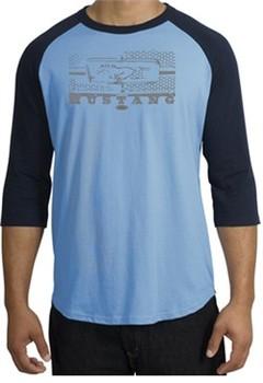 Ford Mustang Raglan T-Shirt Honeycomb Grille Carolina Blue/Navy Shirt