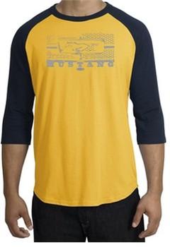Ford Mustang T-Shirt Legend Honeycomb Grille Raglan Tee Gold/Navy