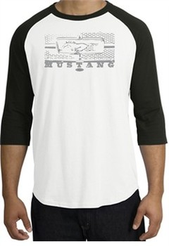 Ford Mustang Raglan T-Shirt Legend Honeycomb Grille White/Black Shirt