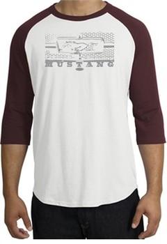 Ford Mustang Raglan T-Shirt Legend Honeycomb Grille White/Maroon Shirt
