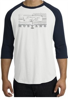 Ford Mustang Raglan T-Shirt Legend Honeycomb Grille White/Navy Shirt
