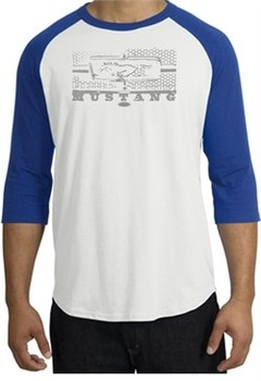 Ford Mustang Raglan T-Shirt Legend Honeycomb Grille White/Royal Shirt