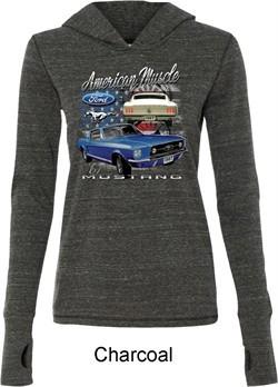 Ford American Muscle 1967 Mustang Ladies Tri Blend Hoodie Shirt