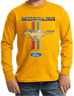 Ford Mustang Kids Shirt Mustang Stripe Long Sleeve Tee T-Shirt