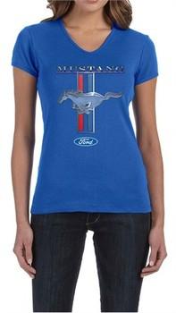 Ford Mustang Ladies Shirt Mustang Stripe V-neck Tee T-Shirt