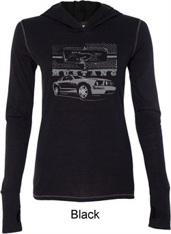 Ford Mustang with Grill Ladies Tri Blend Hoodie Shirt