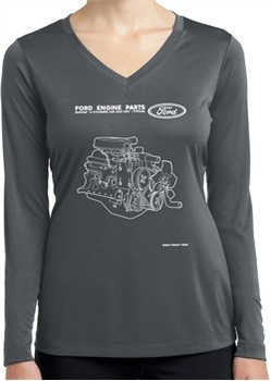 Ford Tee Engine Parts Ladies Dry Wicking Long Sleeve