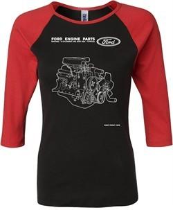 Ford Tee Engine Parts Ladies Raglan Shirt