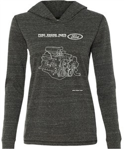 Ford Tee Engine Parts Ladies Tri Blend Hoodie