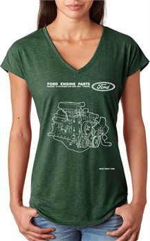 Ford Tee Engine Parts Ladies Tri Blend V-neck