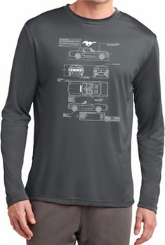 Ford Tee Mustang Blue Print Dry Wicking Long Sleeve