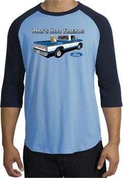 Ford Trucks Shirt Mans Best Friend Raglan Tee Carolina Blue/Navy