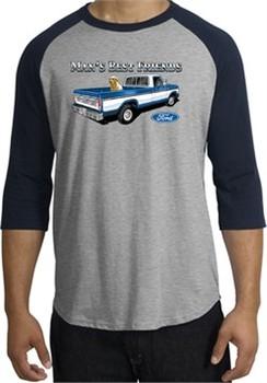 Ford Trucks Shirt Mans Best Friend Raglan Tee Heather Grey/Navy
