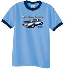 Ford Trucks Shirt Mans Best Friend Ringer Tee Carolina Blue/Navy