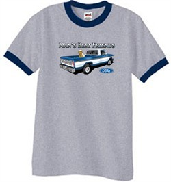 Ford Trucks Shirt Mans Best Friend Ringer Tee Heather Grey/Navy