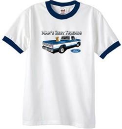 Ford Trucks T-Shirt Mans Best Friend Ringer Tee White/Navy