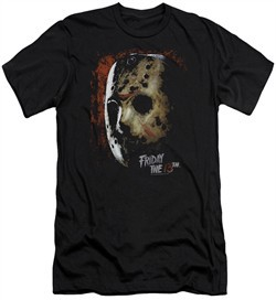 Friday the 13th Slim Fit Shirt Jason Voorhees Mask Black T-Shirt