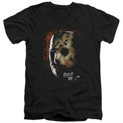 Friday the 13th Slim Fit V-Neck Shirt Jason Voorhees Mask Black T-Shirt