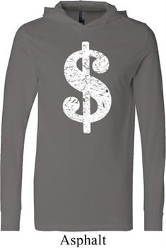 Funny Shirt Distressed Dollar Sign Lightweight Hoodie Tee
