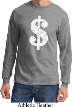 Funny Shirt Distressed Dollar Sign Long Sleeve Tee T-Shirt