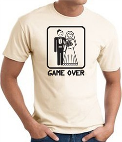Game Over T-shirt Funny Marriage Bride Groom Natural Tee Black Print