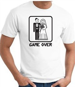 Game Over T-shirt Funny Marriage Bride Groom White Tee