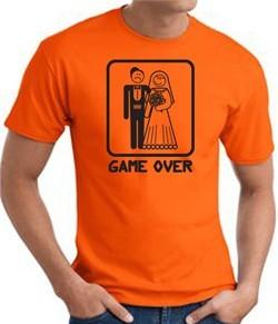 Game Over T-shirt Funny Marriage Bride Groom Orange Tee