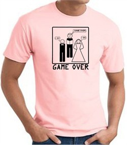 Game Over Marriage Ceremony T-shirt Funny Pink Tee