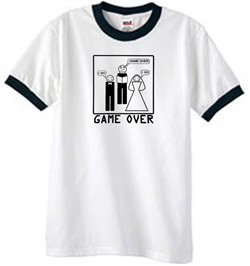 Game Over Marriage Ceremony Ringer White/Black Tee