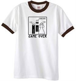 Game Over Marriage Ceremony Ringer White/Brown Tee